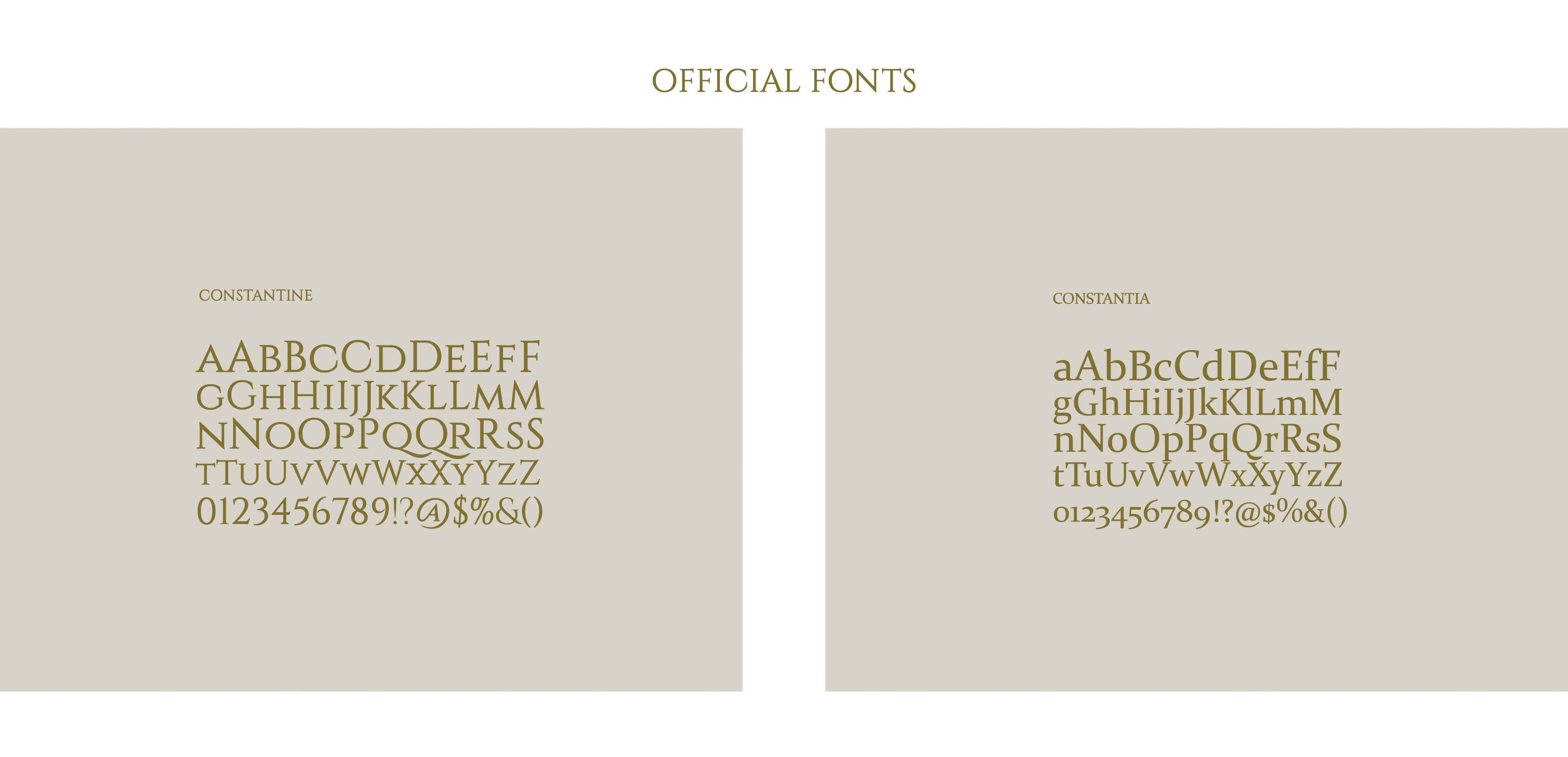 Official Fonts: Constantine & Constantia